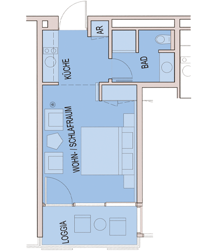 Single-room studio – Carat Residenz
