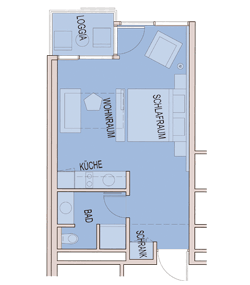 Grundriss Apartment 30 m² bis 35 m²