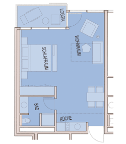 Grundriss Apartment 36 m² bis 43 m²