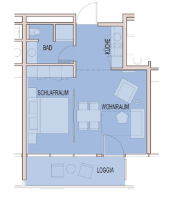 rundriss Apartment 38 m² bis 49 m²