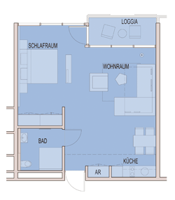 Grundriss Apartment 50 m² bis 54 m²