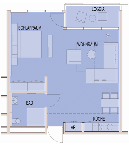 Behindertengerechte apartments carat residenz for Hotel badezimmer grundriss